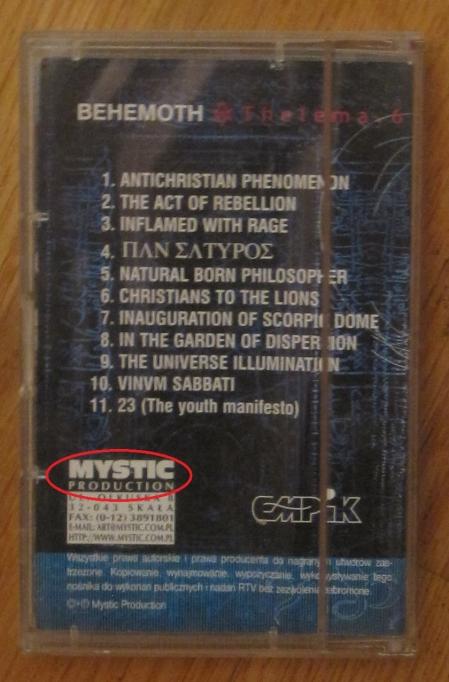 Caset comprat a Polònia de l'àlbum de Behemoth Thelema.6 (2000, Mystic Production a Polònia): segell polonès.